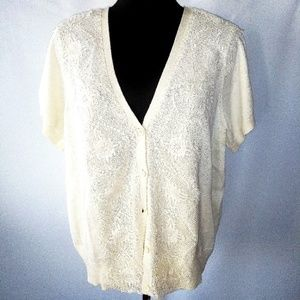 Short sleeve lace overlay cardigan.